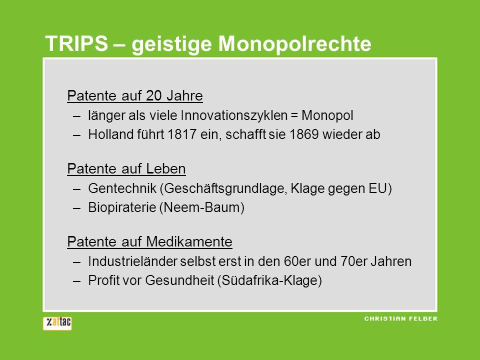 TRIPS – geistige Monopolrechte