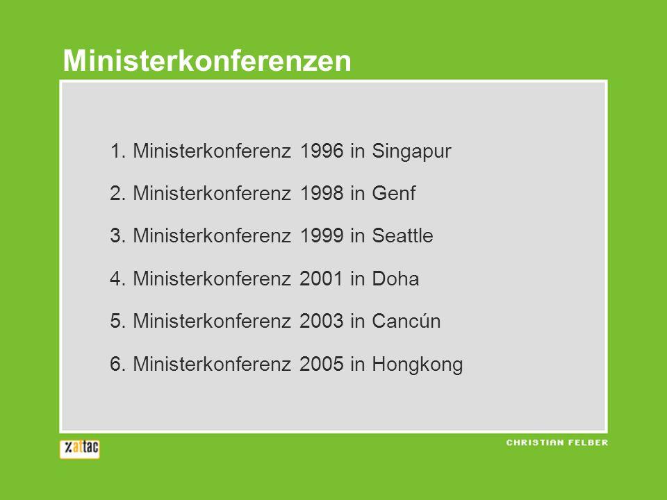 Ministerkonferenzen 1. Ministerkonferenz 1996 in Singapur