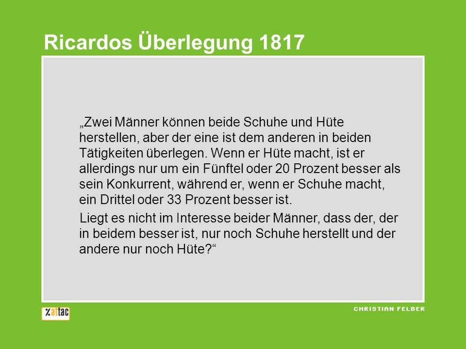 Ricardos Überlegung 1817