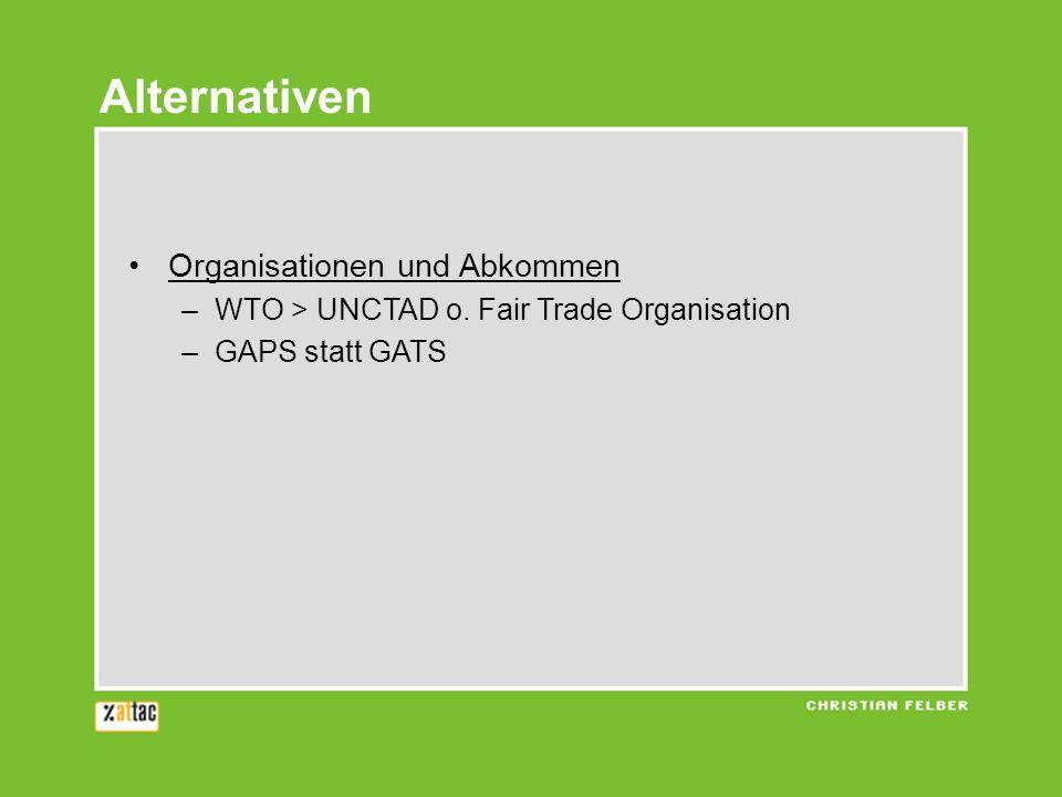 Alternativen Organisationen und Abkommen
