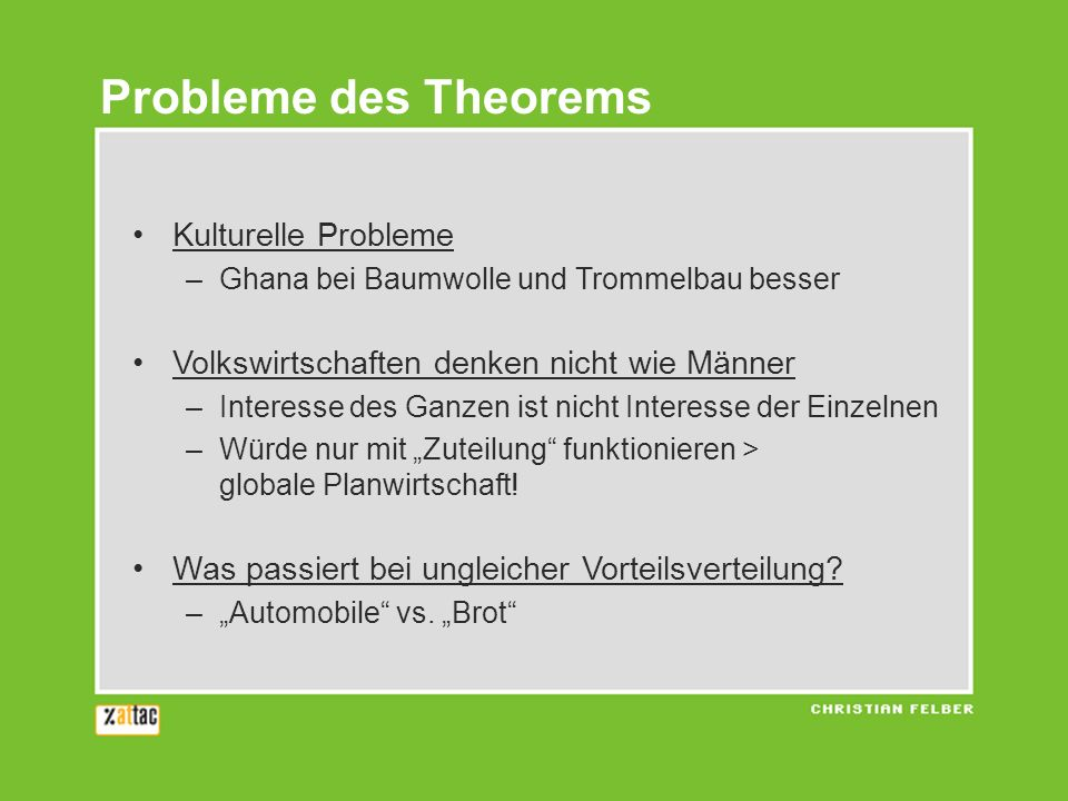 Probleme des Theorems Kulturelle Probleme