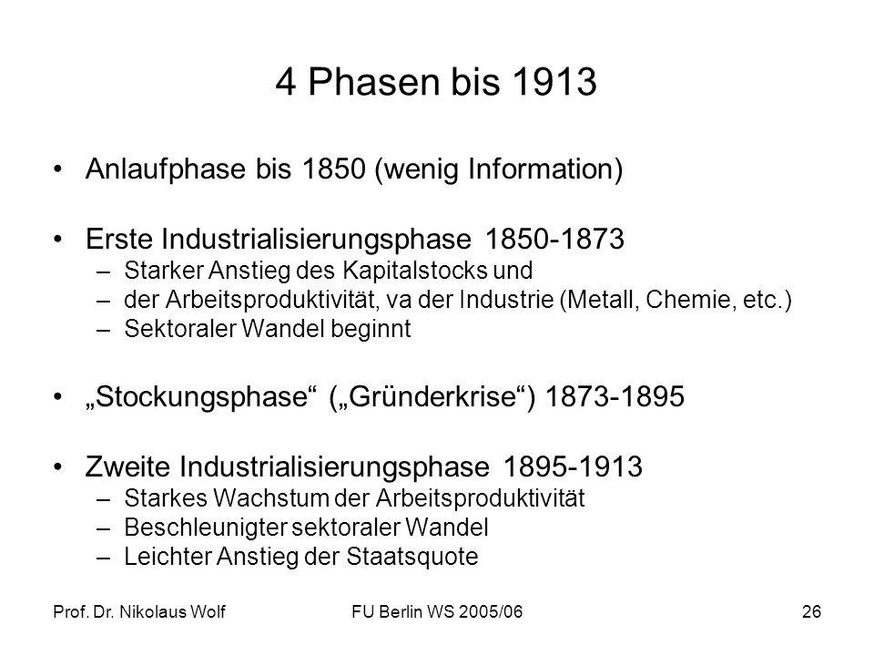 4 Phasen bis 1913 Anlaufphase bis 1850 (wenig Information)