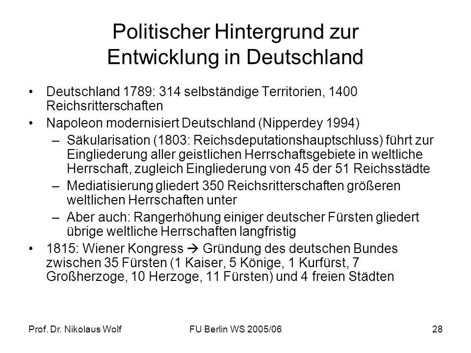 Politischer Hintergrund zur Entwicklung in Deutschland