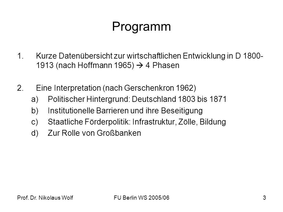 Programm Kurze Datenübersicht zur wirtschaftlichen Entwicklung in D 1800-1913 (nach Hoffmann 1965)  4 Phasen.