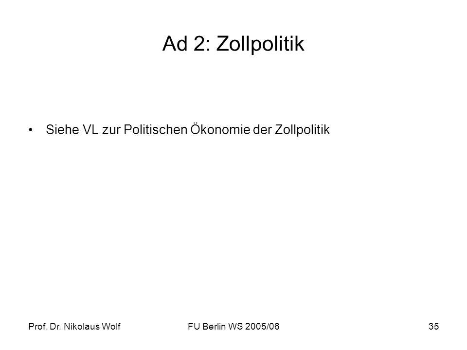 Ad 2: Zollpolitik Siehe VL zur Politischen Ökonomie der Zollpolitik