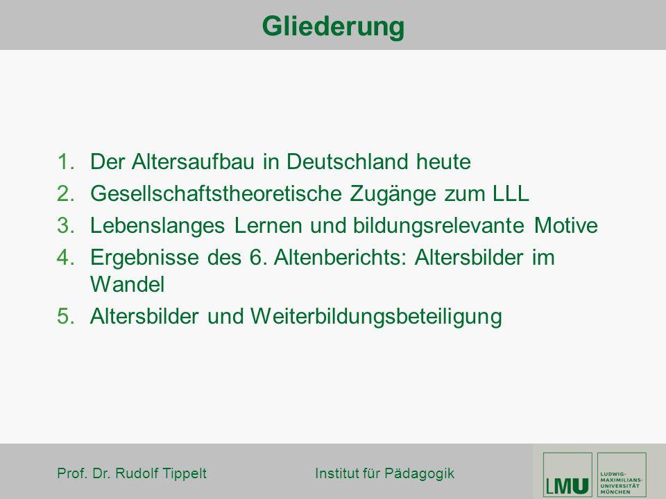 Gliederung Der Altersaufbau in Deutschland heute
