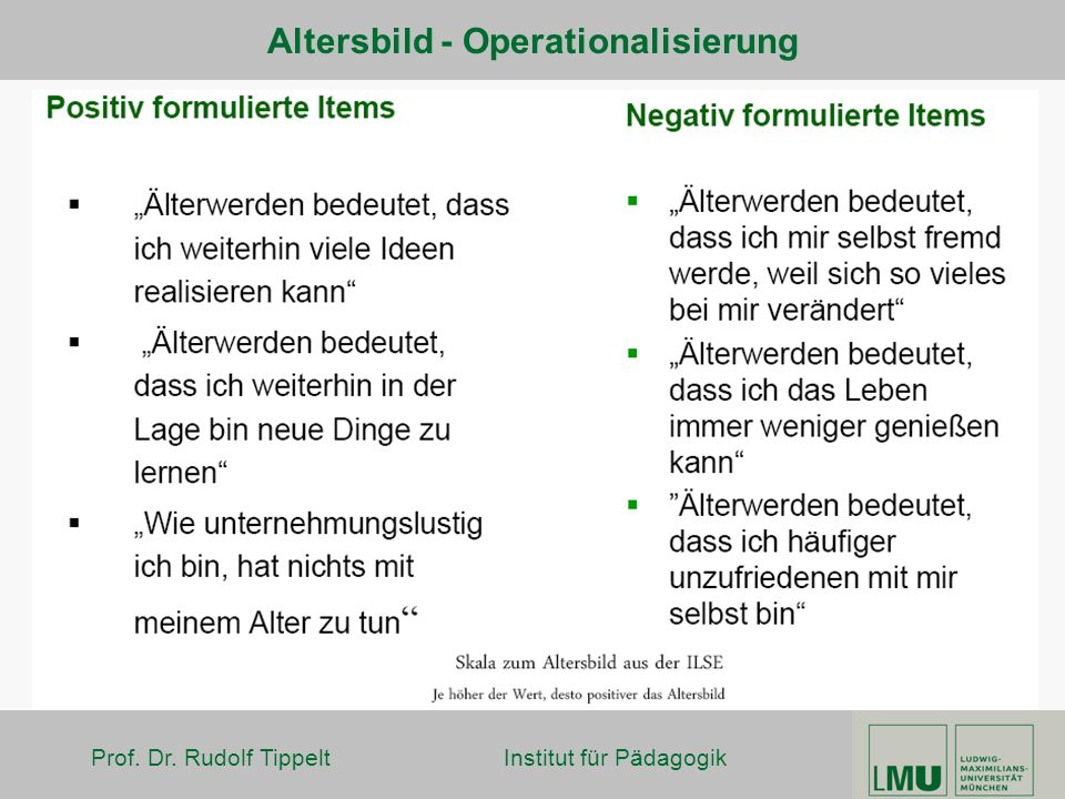 Altersbild - Operationalisierung