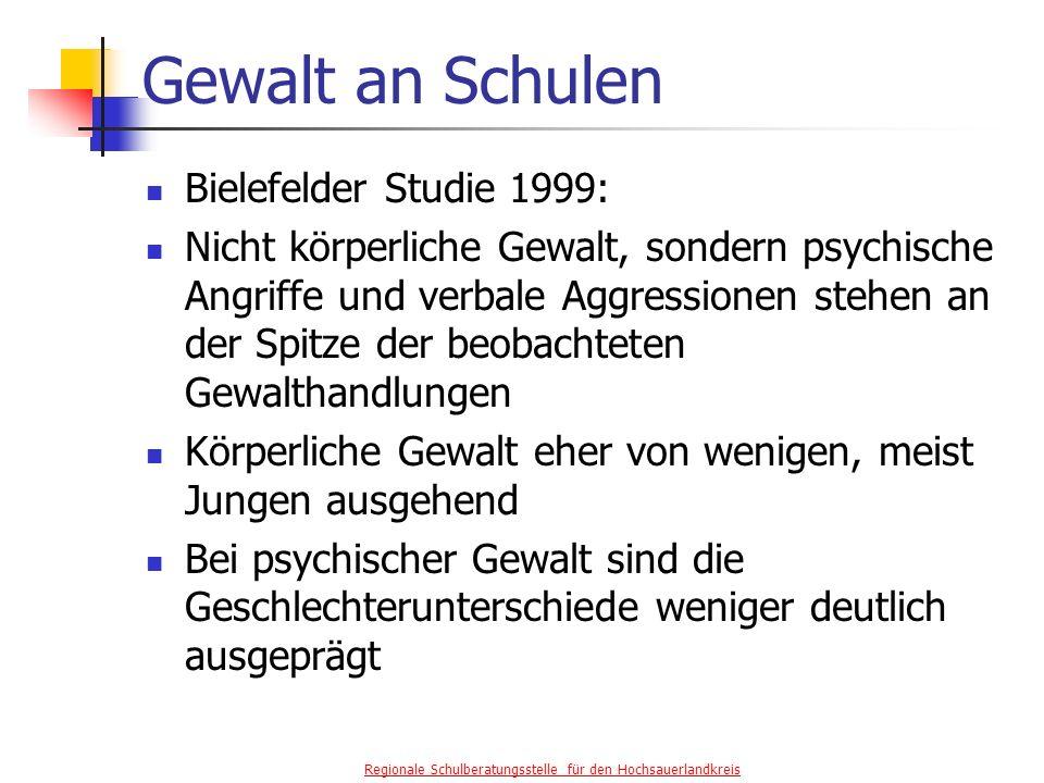 Gewalt an Schulen Bielefelder Studie 1999: