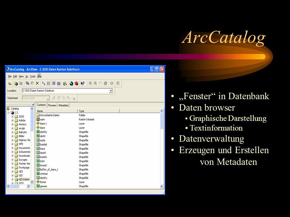 """ArcCatalog """"Fenster in Datenbank Daten browser Datenverwaltung"""