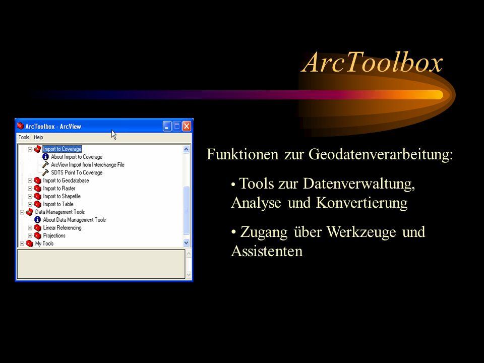 ArcToolbox Funktionen zur Geodatenverarbeitung: