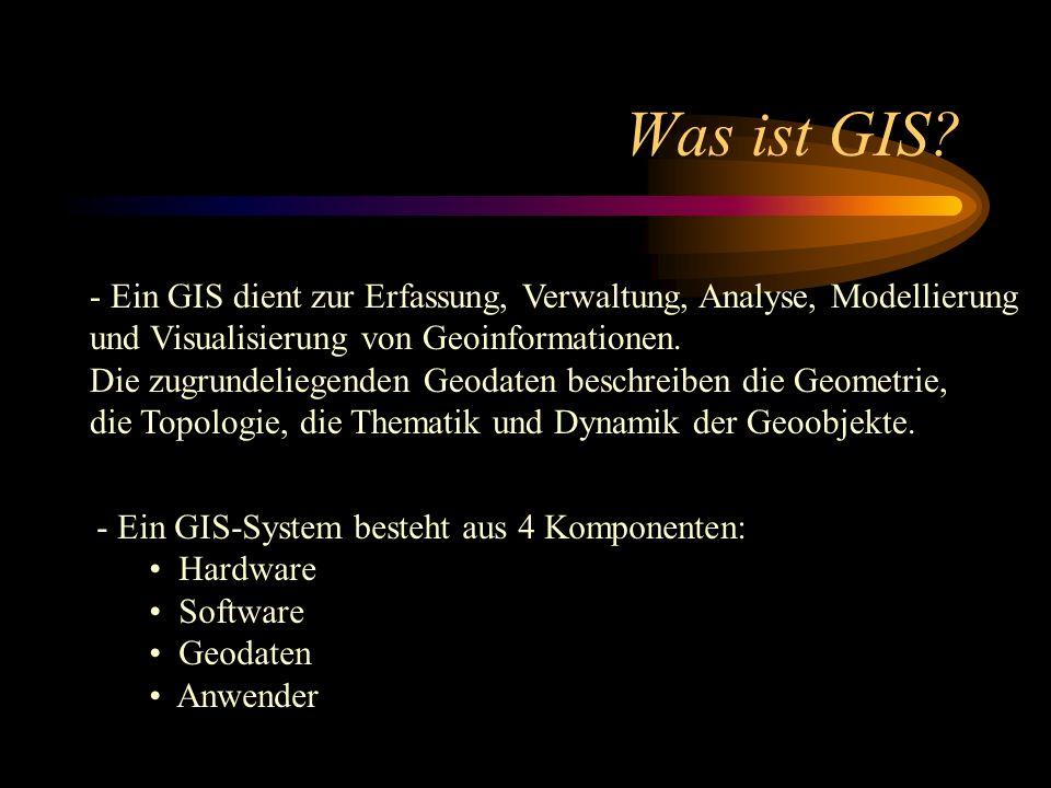 Was ist GIS - Ein GIS dient zur Erfassung, Verwaltung, Analyse, Modellierung und Visualisierung von Geoinformationen.