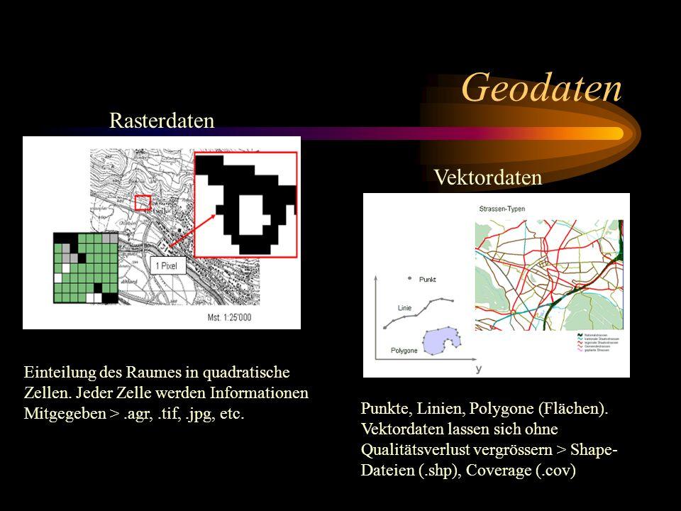 Geodaten Rasterdaten Vektordaten Einteilung des Raumes in quadratische