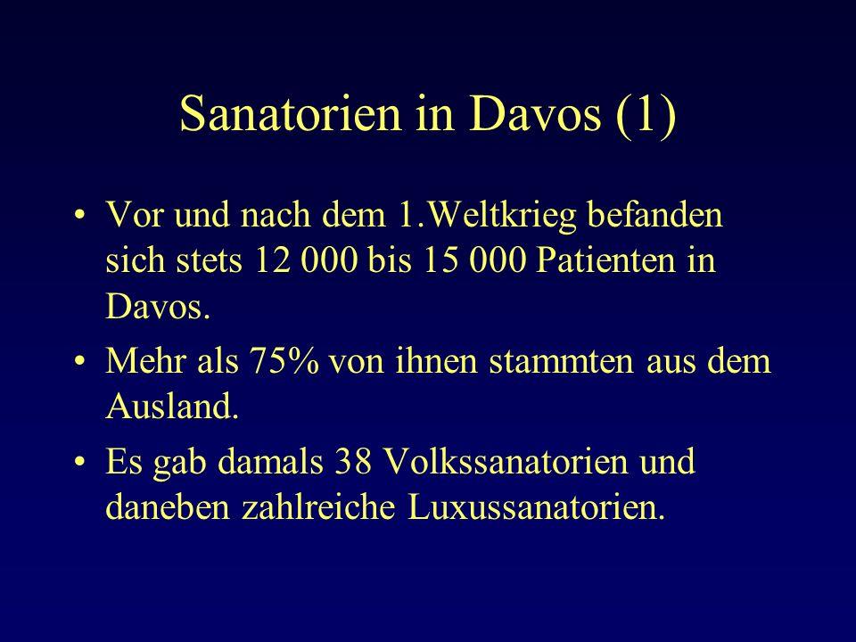 Sanatorien in Davos (1) Vor und nach dem 1.Weltkrieg befanden sich stets 12 000 bis 15 000 Patienten in Davos.