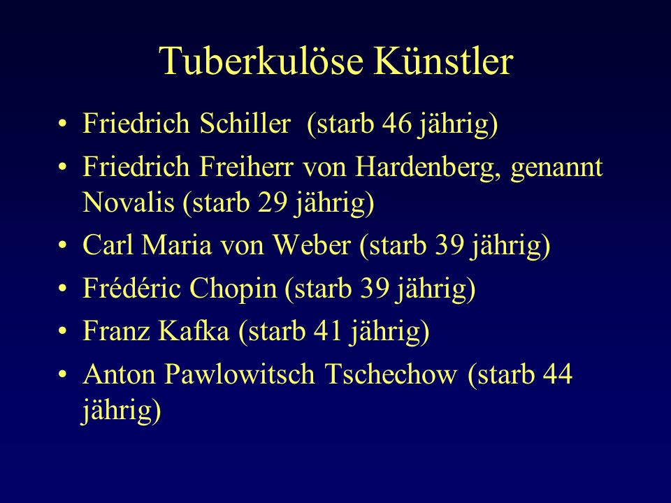 Tuberkulöse Künstler Friedrich Schiller (starb 46 jährig)