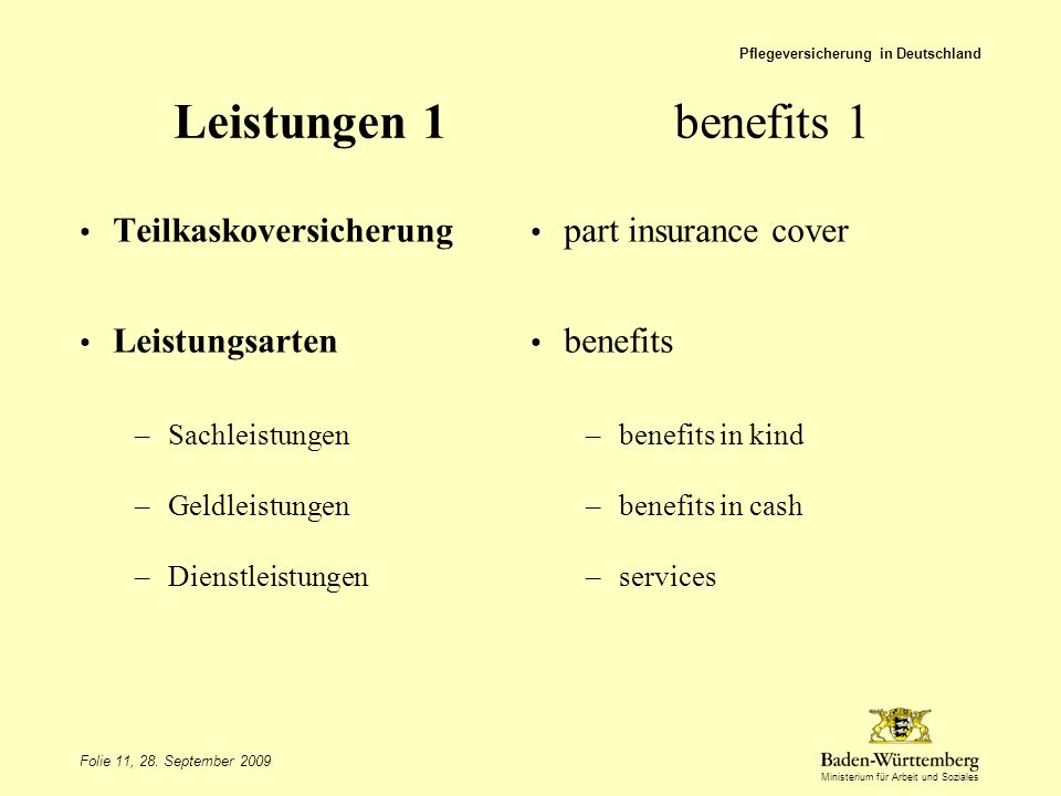 Leistungen 1 benefits 1 Teilkaskoversicherung part insurance cover