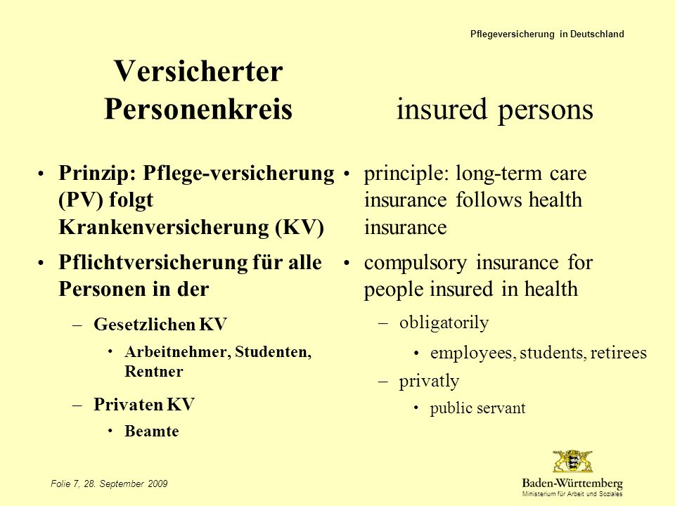 Versicherter Personenkreis insured persons