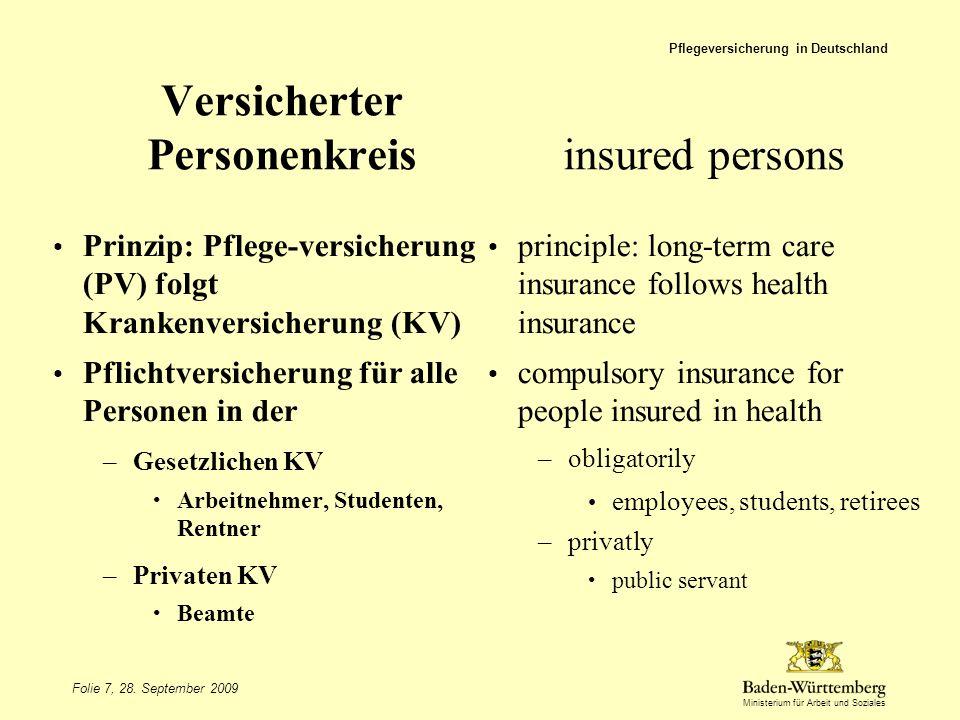 Versicherter Personenkreis insured persons