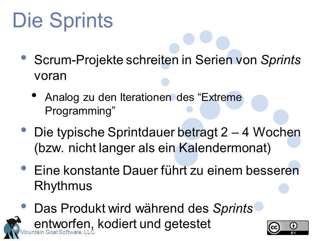 Die Sprints Scrum-Projekte schreiten in Serien von Sprints voran