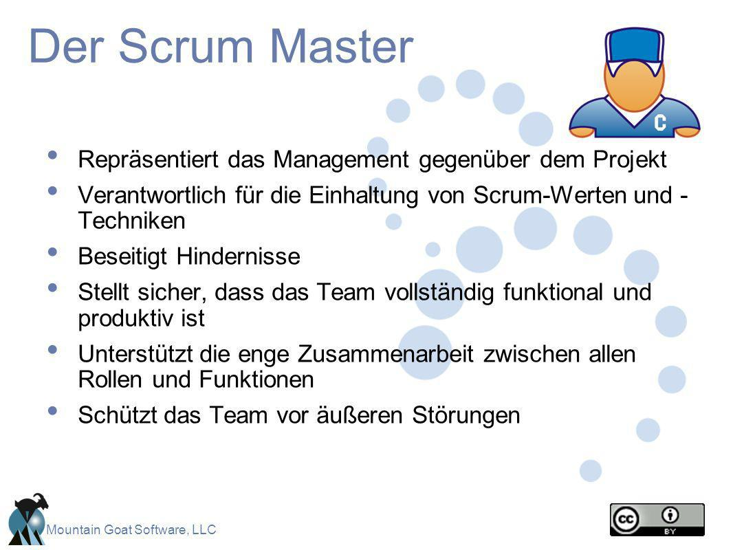 Der Scrum Master Repräsentiert das Management gegenüber dem Projekt