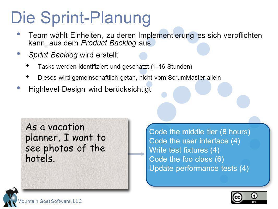 Die Sprint-Planung Team wählt Einheiten, zu deren Implementierung es sich verpflichten kann, aus dem Product Backlog aus.