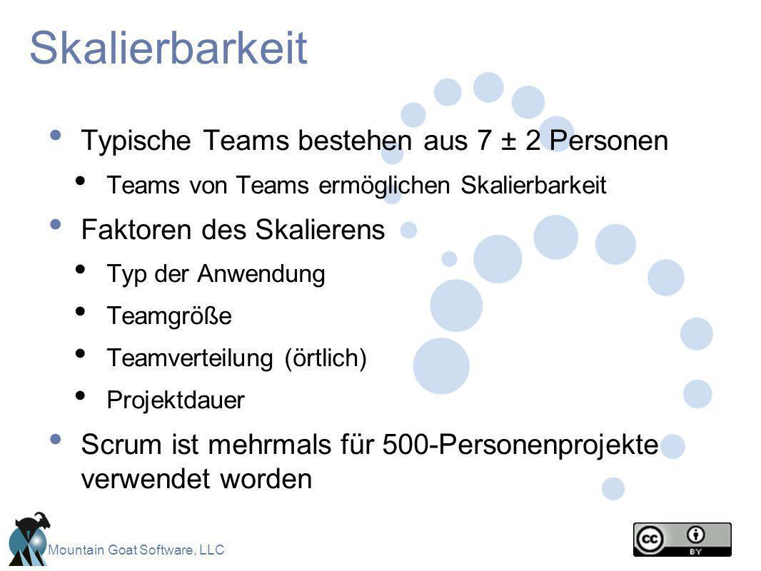 Skalierbarkeit Typische Teams bestehen aus 7 ± 2 Personen