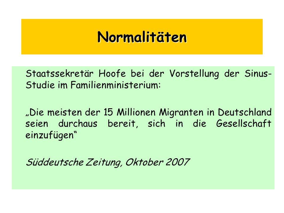 Normalitäten Staatssekretär Hoofe bei der Vorstellung der Sinus-Studie im Familienministerium:
