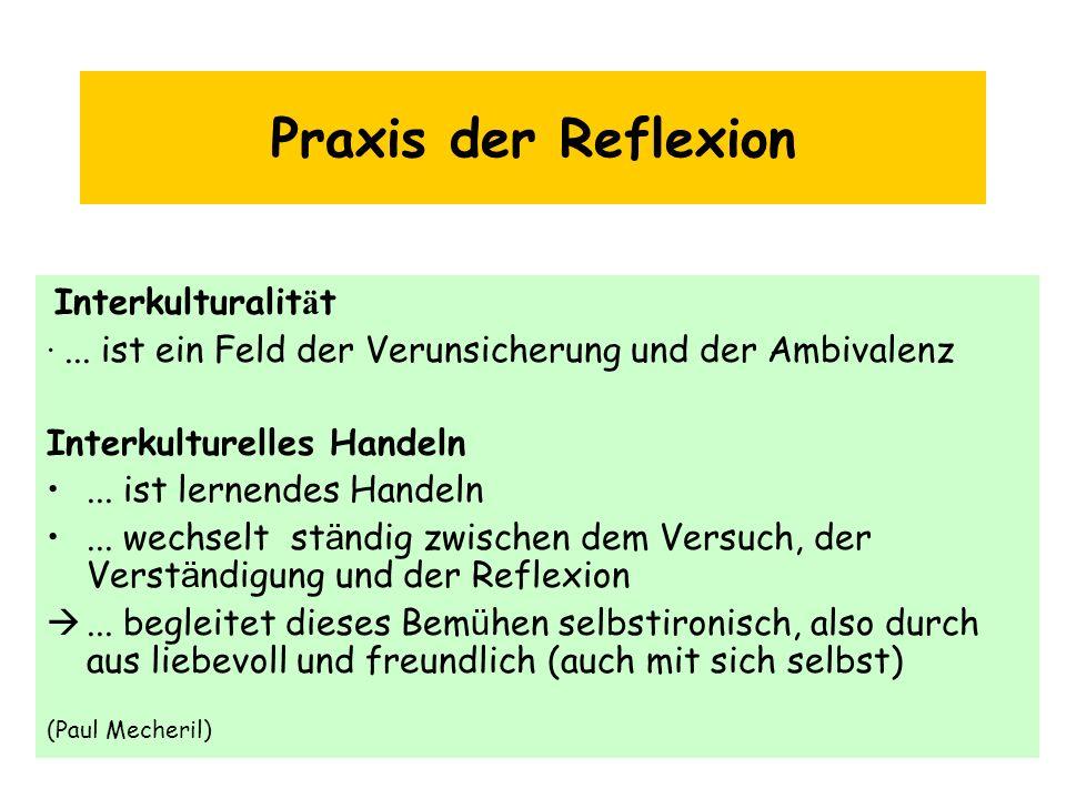 Praxis der Reflexion Interkulturalität. · ... ist ein Feld der Verunsicherung und der Ambivalenz.