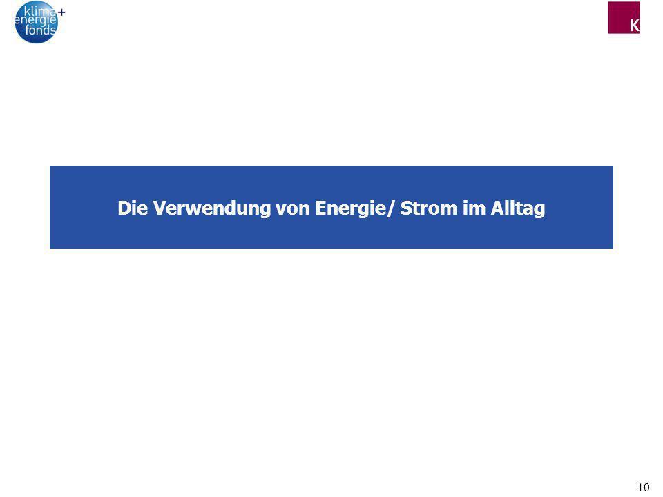 Die Verwendung von Energie/ Strom im Alltag