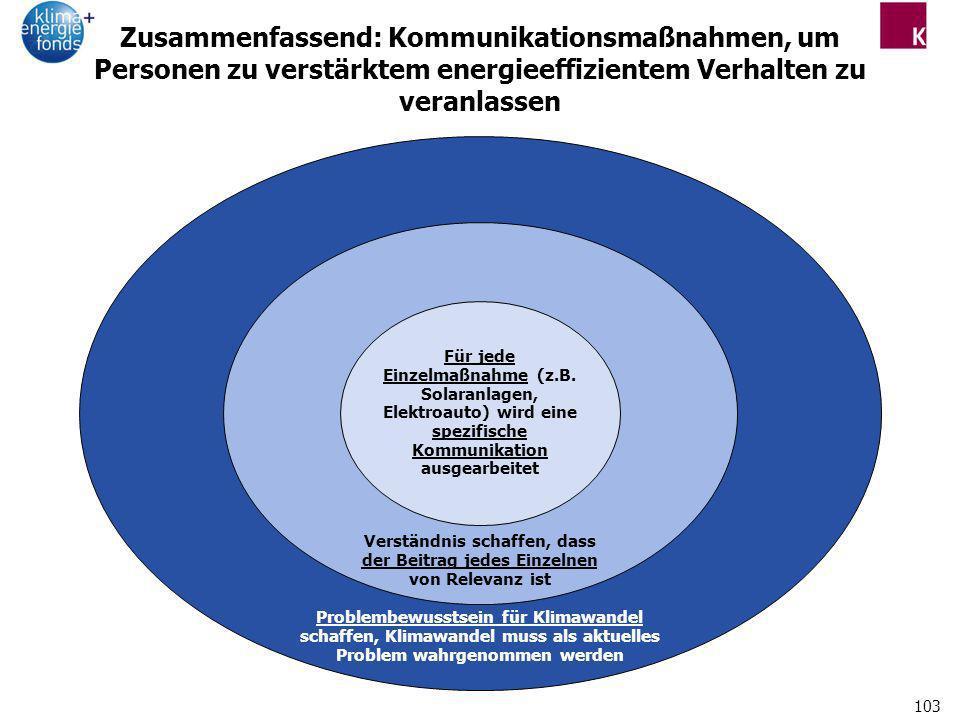 Zusammenfassend: Kommunikationsmaßnahmen, um Personen zu verstärktem energieeffizientem Verhalten zu veranlassen