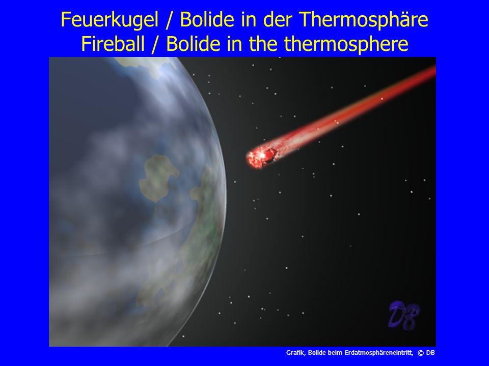 Feuerkugel / Bolide in der Thermosphäre Fireball / Bolide in the thermosphere