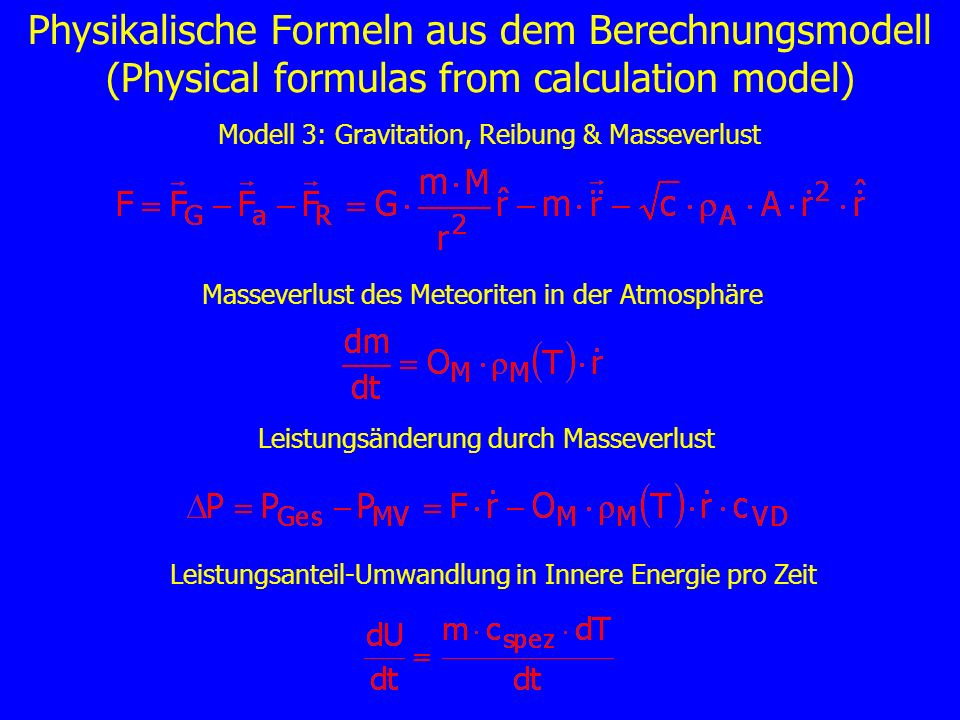 Physikalische Formeln aus dem Berechnungsmodell (Physical formulas from calculation model)