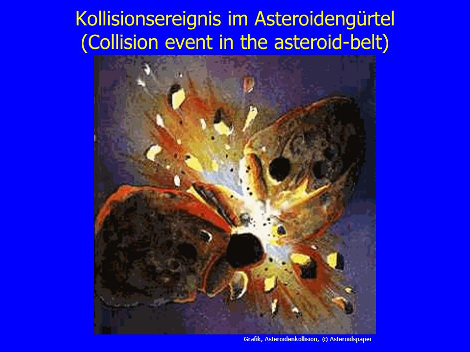 Kollisionsereignis im Asteroidengürtel (Collision event in the asteroid-belt)