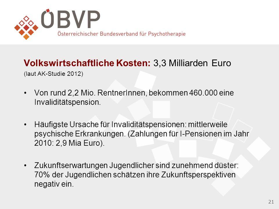 Volkswirtschaftliche Kosten: 3,3 Milliarden Euro