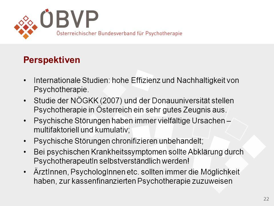 Perspektiven Internationale Studien: hohe Effizienz und Nachhaltigkeit von Psychotherapie.