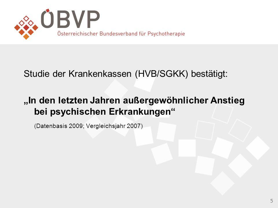 """Studie der Krankenkassen (HVB/SGKK) bestätigt: """"In den letzten Jahren außergewöhnlicher Anstieg bei psychischen Erkrankungen (Datenbasis 2009; Vergleichsjahr 2007)"""
