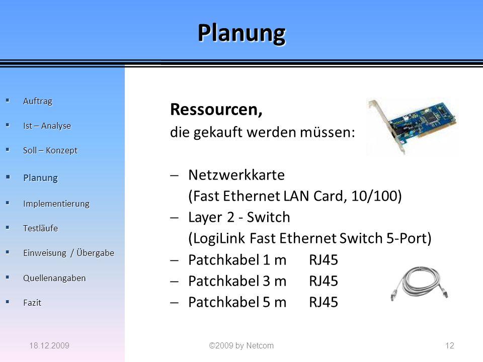 Planung Ressourcen, die gekauft werden müssen: Netzwerkkarte