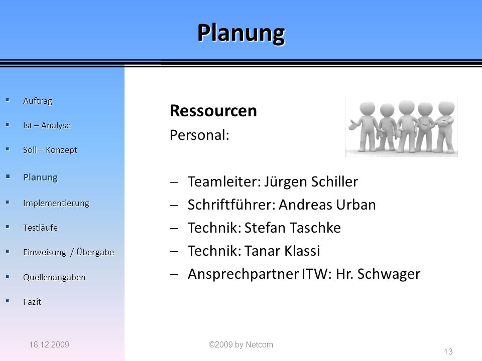 Planung Ressourcen Personal: Teamleiter: Jürgen Schiller
