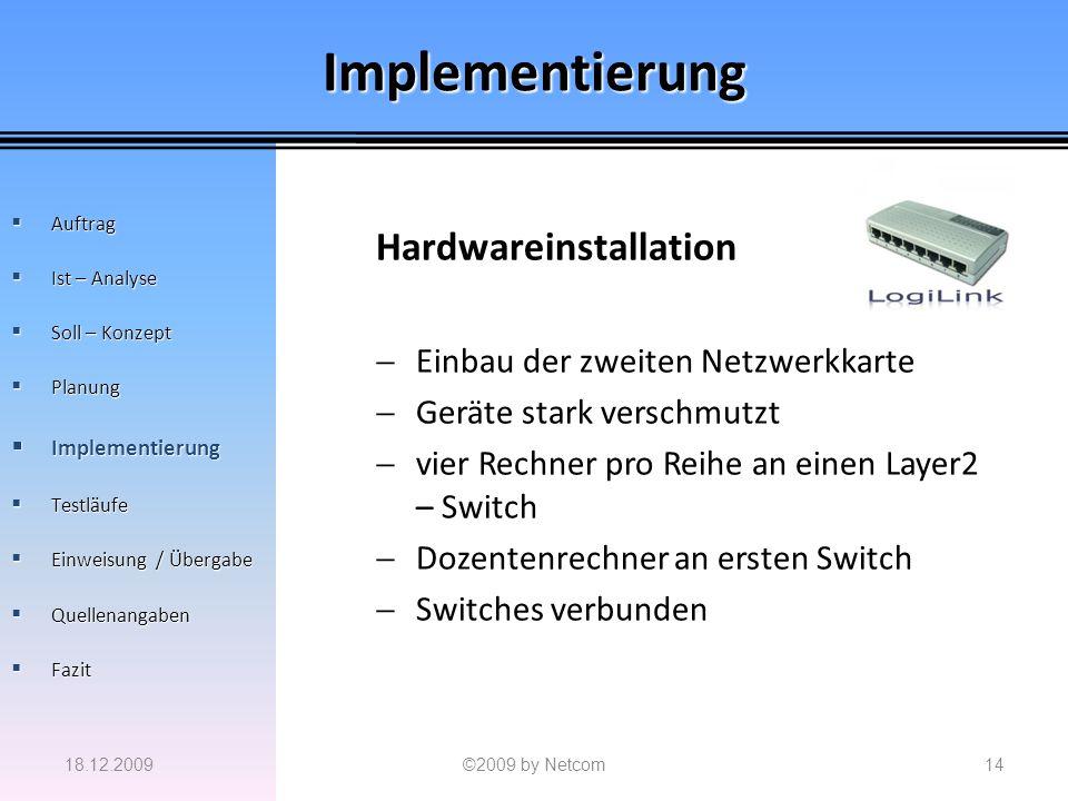 Implementierung Hardwareinstallation Einbau der zweiten Netzwerkkarte