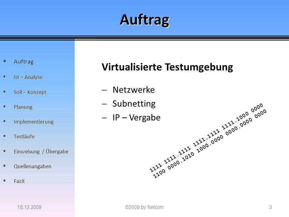 Auftrag Virtualisierte Testumgebung Netzwerke Subnetting IP – Vergabe