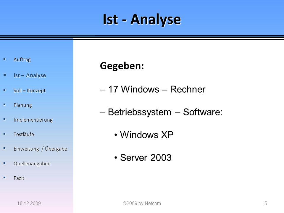 Ist - Analyse Gegeben: 17 Windows – Rechner Betriebssystem – Software: