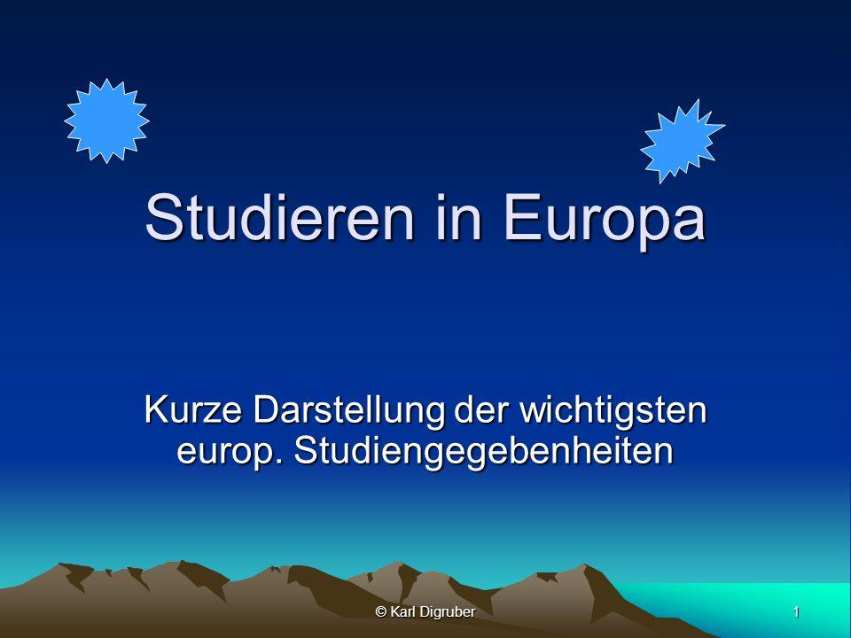 Kurze Darstellung der wichtigsten europ. Studiengegebenheiten