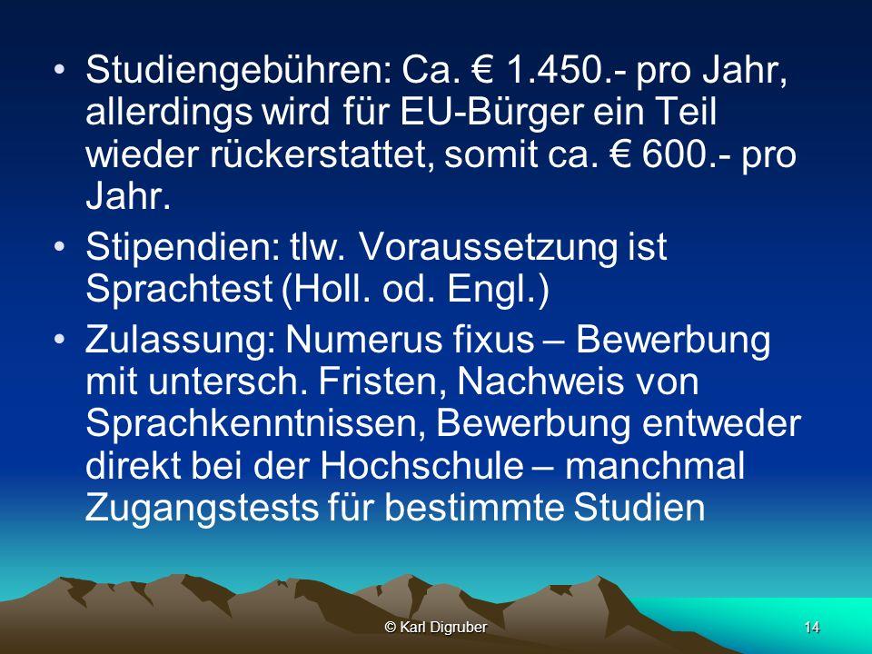 Stipendien: tlw. Voraussetzung ist Sprachtest (Holl. od. Engl.)