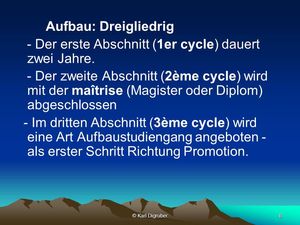 - Der erste Abschnitt (1er cycle) dauert zwei Jahre.