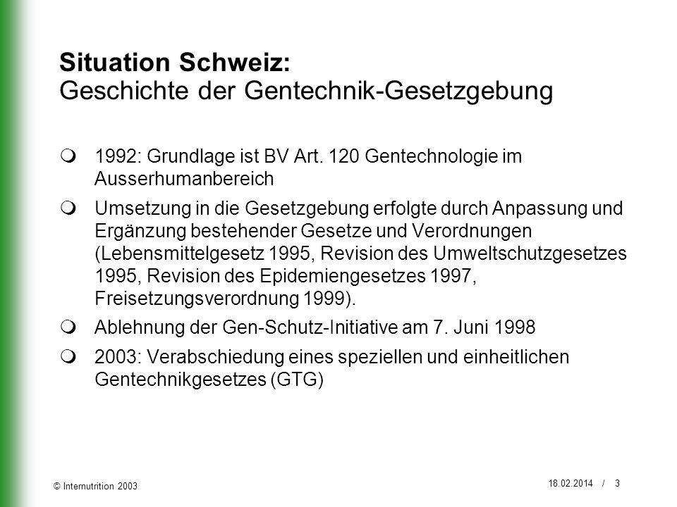 Situation Schweiz: Geschichte der Gentechnik-Gesetzgebung
