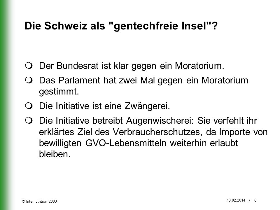 Die Schweiz als gentechfreie Insel