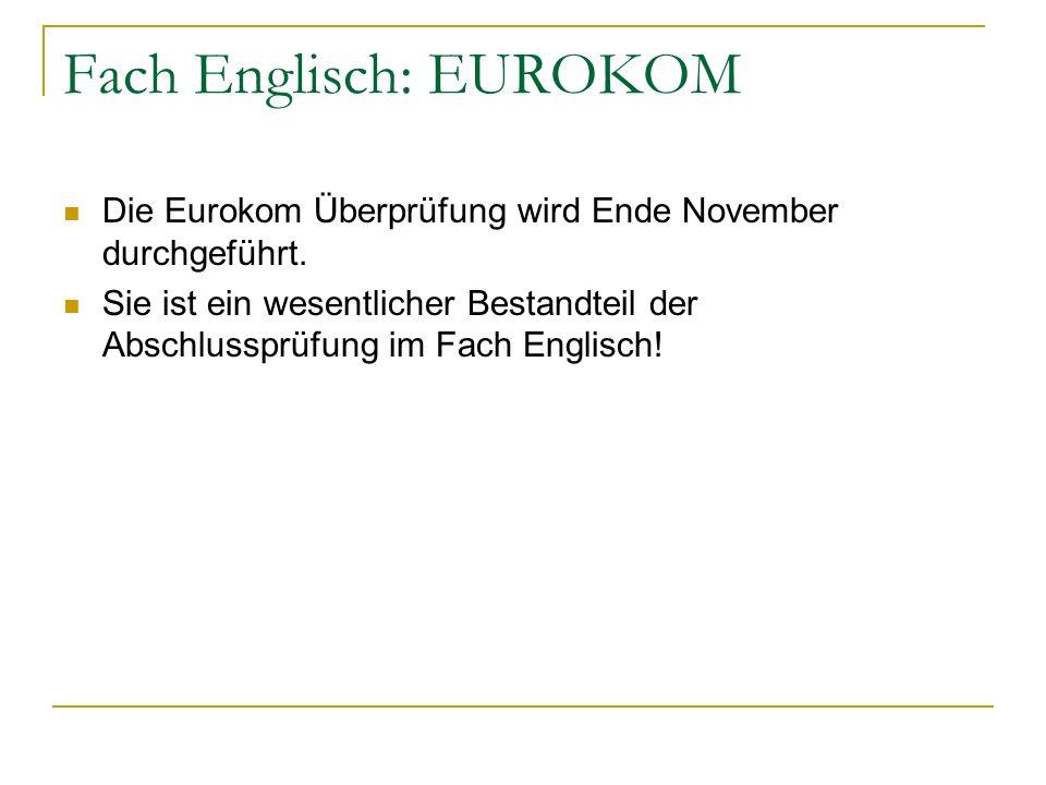 Fach Englisch: EUROKOM