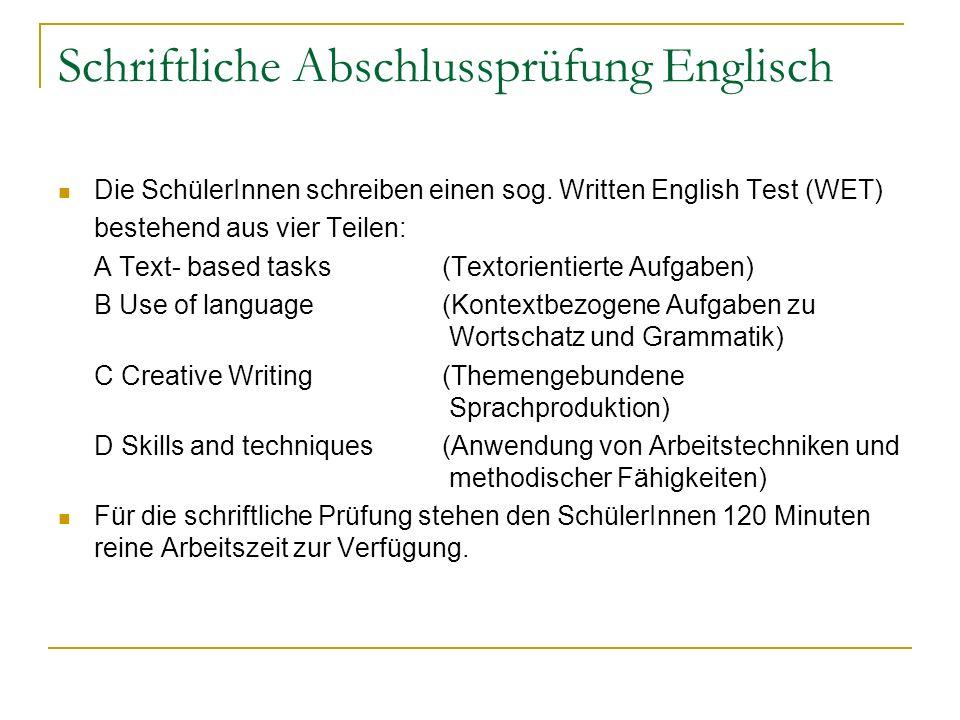 Schriftliche Abschlussprüfung Englisch