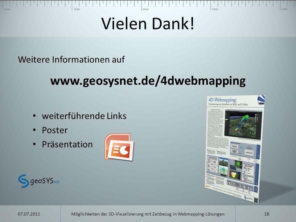 Vielen Dank! www.geosysnet.de/4dwebmapping Weitere Informationen auf