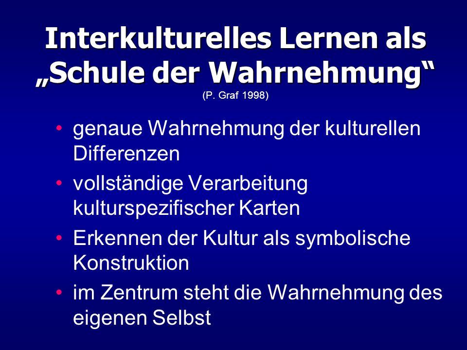 """Interkulturelles Lernen als """"Schule der Wahrnehmung (P. Graf 1998)"""
