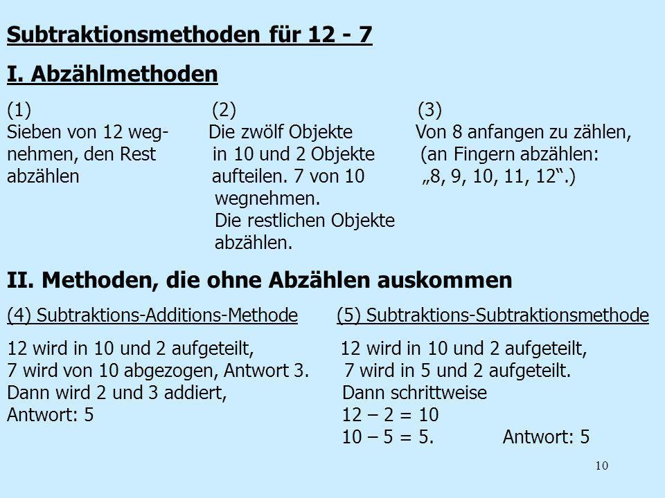 Subtraktionsmethoden für 12 - 7 I. Abzählmethoden